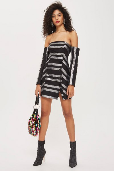black and silver striped bardot mini dress with heeled ankle boots