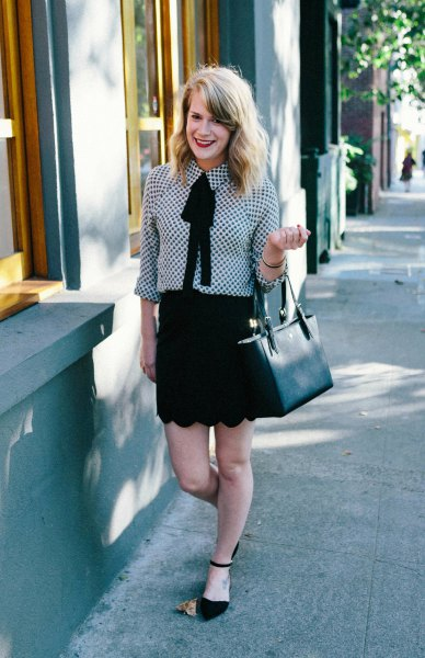 black and white checker tie front blouse with scalloped hem mini skirt