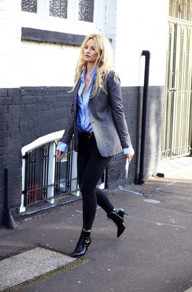 black and white checkered blazer with light blue shirt and leather boots