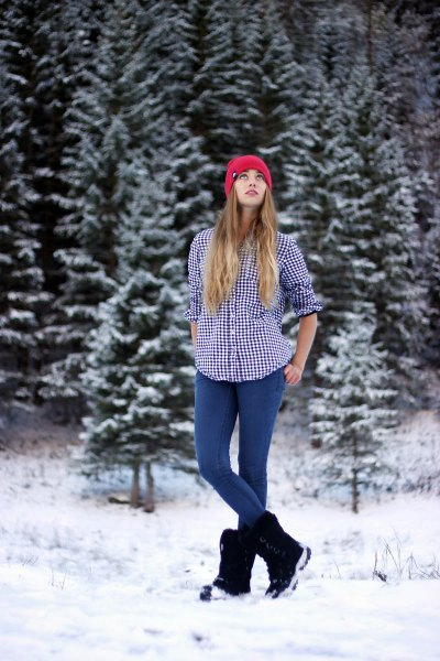 black and white checkered hiking shirt with snow boots