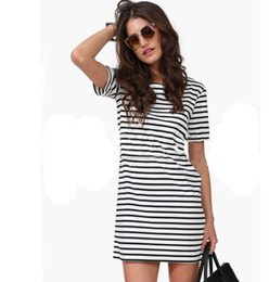 black and white striped short sleeve mini shift dress