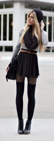 black and white striped tee with belted mini skater skirt and tights