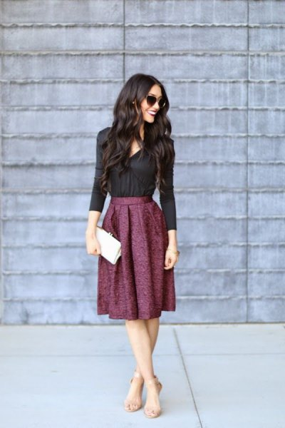 black button up shirt with midi pleated wool skirt