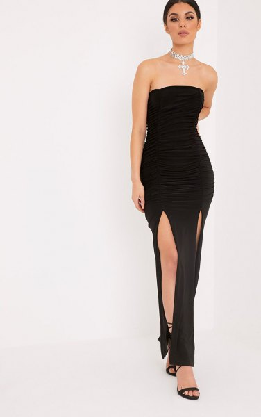 black double slit maxi strapless dress with ankle strap open toe heels