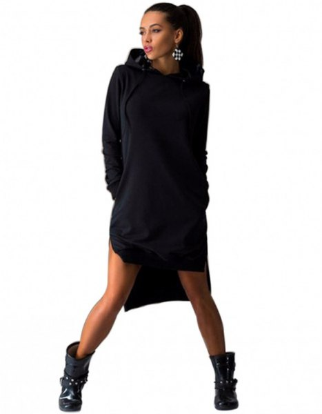 black hooded sweatshirt dress with leather ankle boots