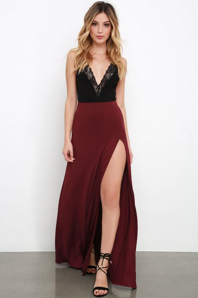 black lace deep v neck top with high waisted slit maxi maroon skirt