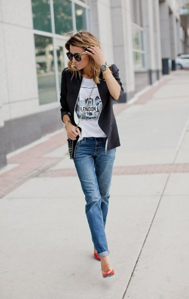 black leather jacket with white tee and cuffed jeans