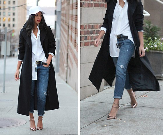 black longline wool coat with white boyfriend shirt and straight leg jeans