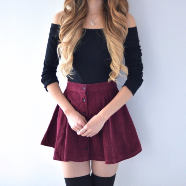 black off the shoulder sweater with button front skater mini skirt