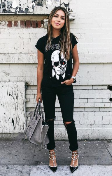 black rolled sleeve graphic tee with ripped jeans and sequin heels