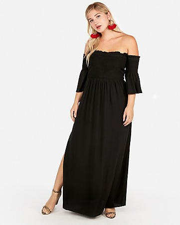 black ruffle sleeve off the shoulder maxi side slit dress