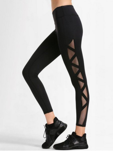 black sport crop top with black mesh workout leggings