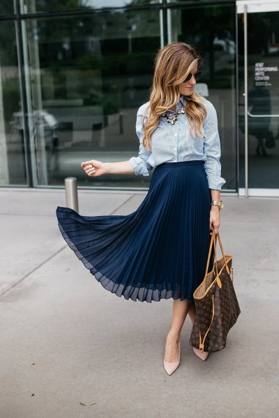 blue and white striped shirt with navy chiffon midi skirt