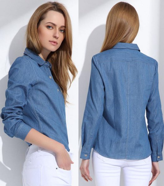 blue slim fit denim shirt with white skinny jeans