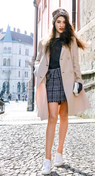blush pink midi wool coat with plaid mini skirt