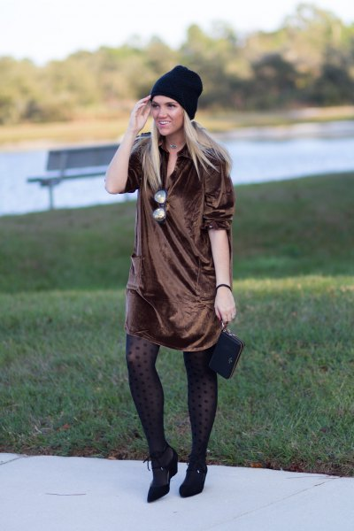 bronze silk shirt dress with tights and pointed toe leather short boots