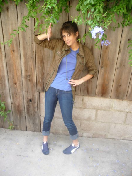 brown boyfriend shirt with blue tee and cuffed jeans