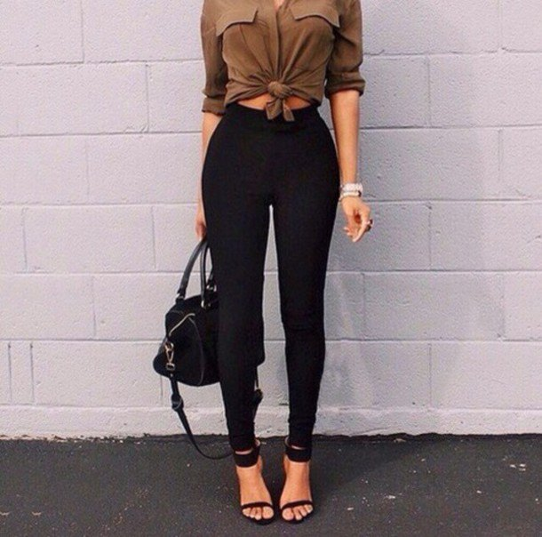camel knotted button up blouse with black high waisted skinny jeans