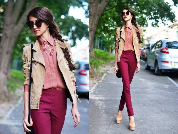 camel suede blazer with pink shirt and high rise maroon jeans