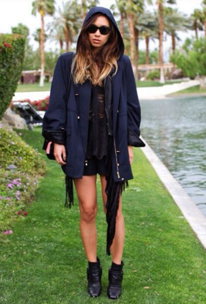 dark navy blue jacket with black mini shift dress and ankle boots