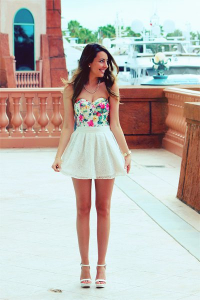 floral printed strapless top with white chiffon high waisted mini skater skirt