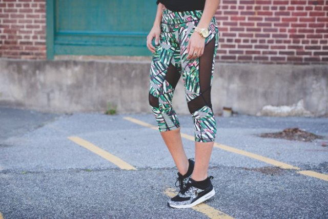 grey floral printed cropped mesh leggings and matching running shoes