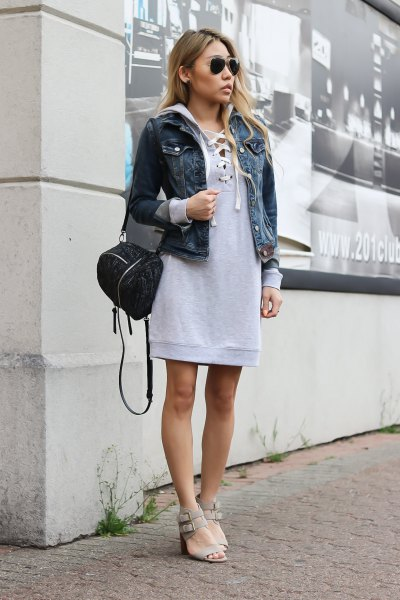grey lace up hooded sweatshirt dress with blue denim jacket