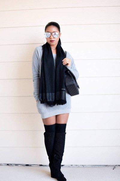 grey mini sweatshirt dress with black knit scarf