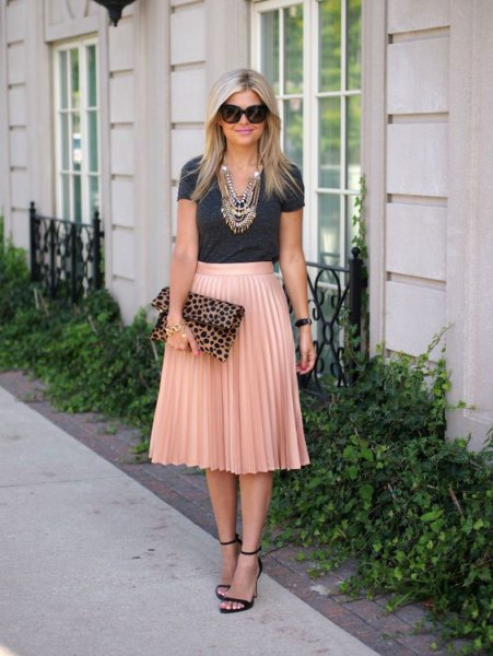 grey t shirt with rose gold high rise pleated midi skirt