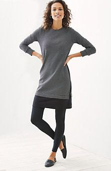 grey tunic long sleeve top with black leggings and leather loafers