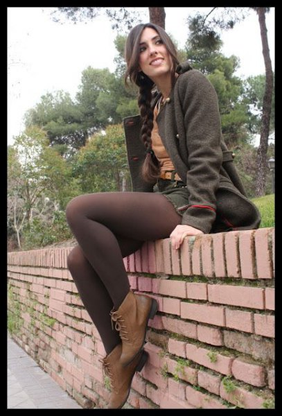 grey wool coat with matching skirt and brown tights