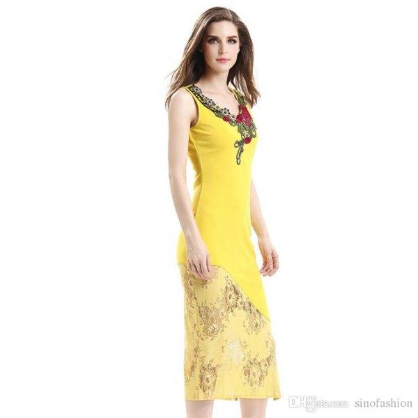 lemon yellow midi sheath occasion dress