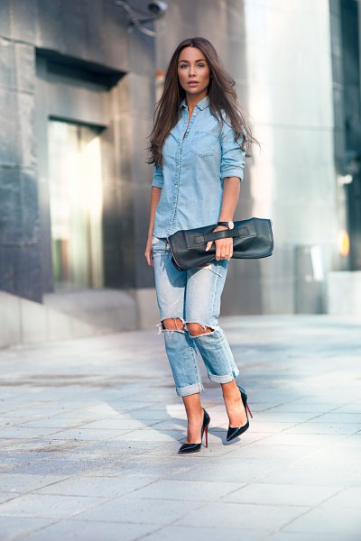 light blue button up blouse with cuffed boyfriend jeans
