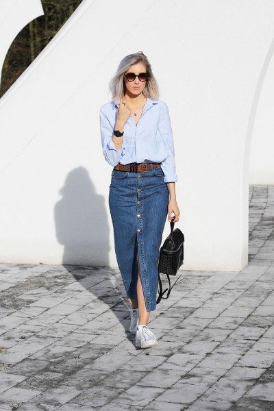light blue long sleeve shirt with denim long single slit skirt