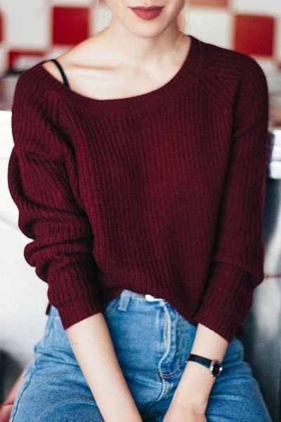 maroon boat neck ribbed sweater with black spaghetti strap vest top and mom jeans
