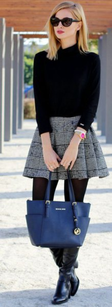 mock neck sweater with black and white plaid pleated mini skater skirt