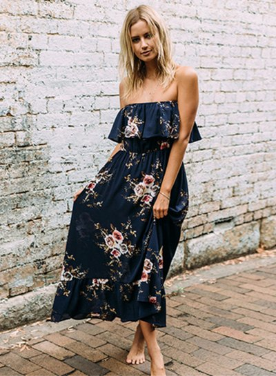 navy blue floral printed ruffle shoulder maxi dress