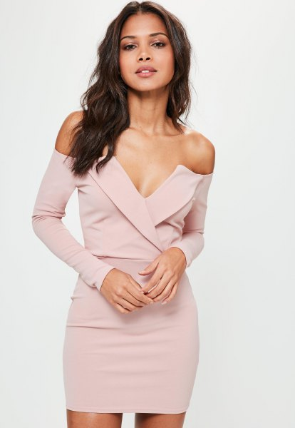 pale pink long sleeve deep v neck bardot mini dress