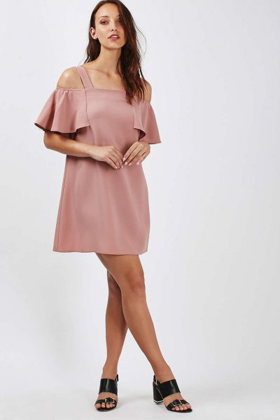 pink bardot cold shoulder mini dress with open toe heels