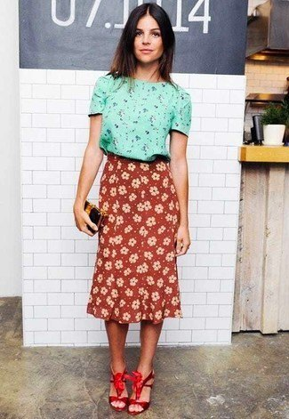 pink floral printed blouse with high waisted red midi skirt