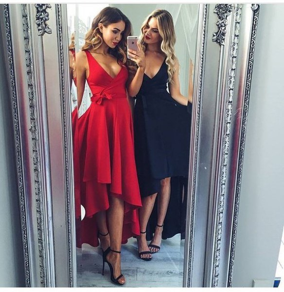 red deep v neck fit and flare high low midi occasion dress