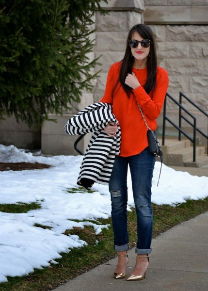 relaxed fit blouse with striped jacket and cuffed jeans