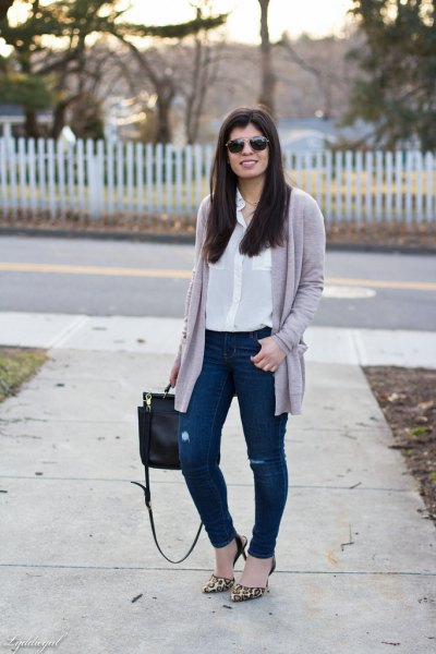 white button up pocket front silk blouse with grey cardigan
