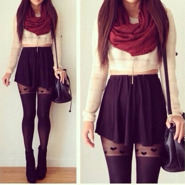 white cropped blouse with red infinity scarf and mini skirt