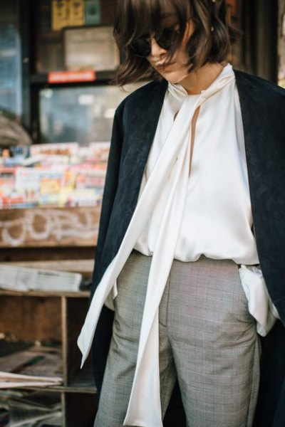 white keyhole silk blouse with black longline blazer