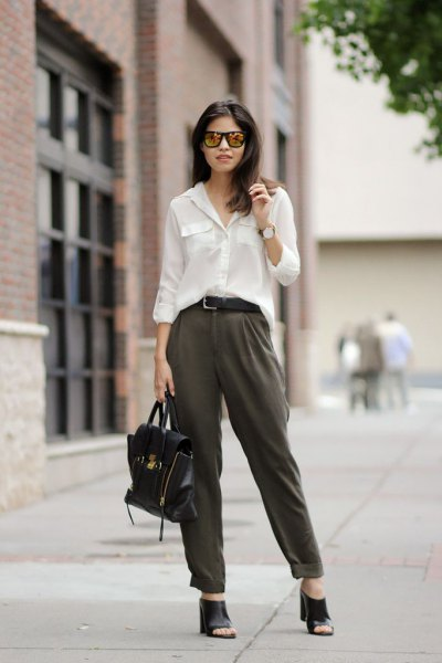 white long sleeve blouse with grey straight leg cuffed chinos