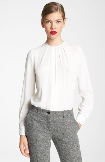 white long sleeve crew neck relaxed fit blouse with tweed pants