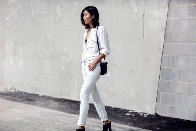 white shirt with matching jeans and black open toe heels