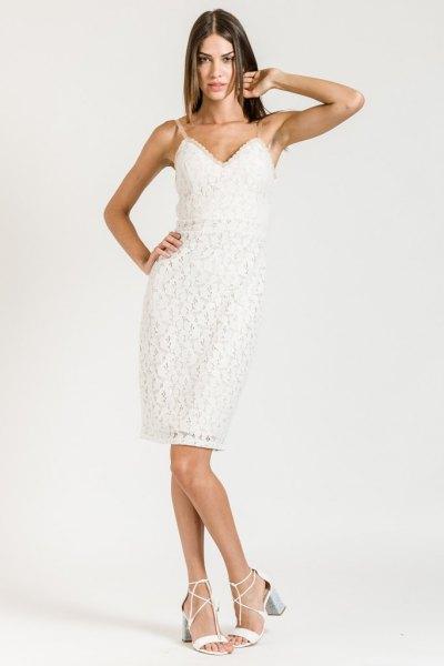 white sweetheart neckline spaghetti strap sheath dress