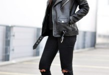 best black knee ripped jeans outfit ideas for women